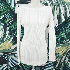 Lands' End white knit long sleeve sweater tunic M
